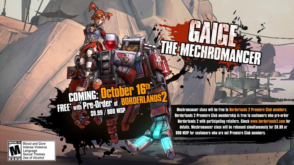 GaigeMechromancer-1024x576 Borderlands 2's Mechromancer DLC class dated, character design finalised