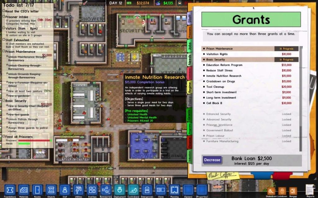 Prison Architect Alpha 19 fiddles the finances