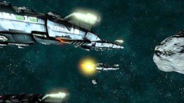 The Mandate's ship combat trailer raises shields, fires when ready