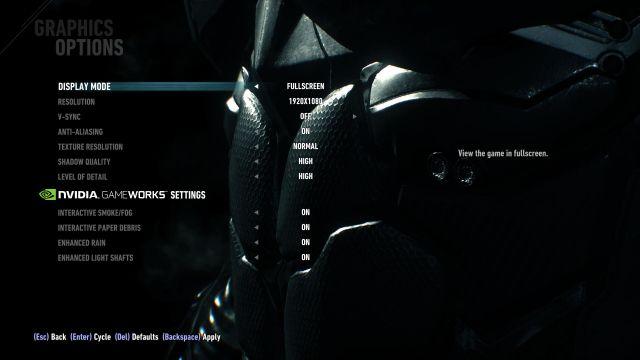 Batman: Arkham Knight - Settings