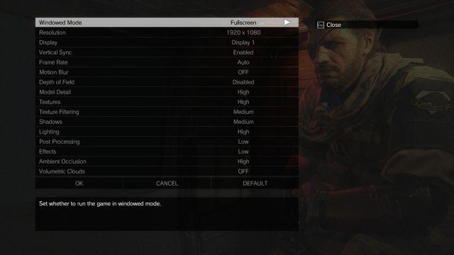 metal gear solid V graphics menu