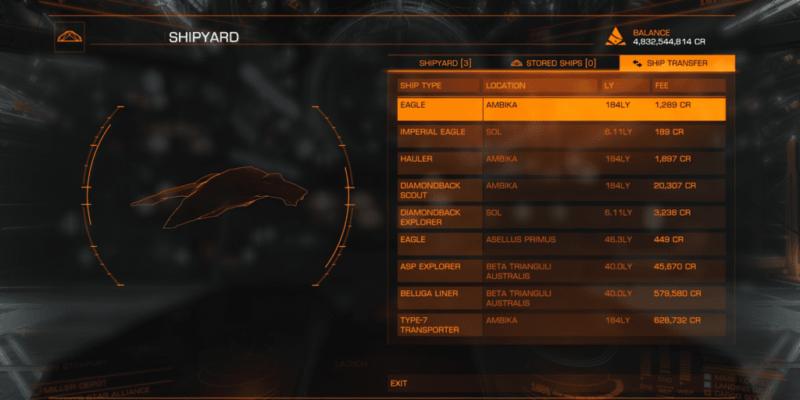 elite: dangerous ship transfer