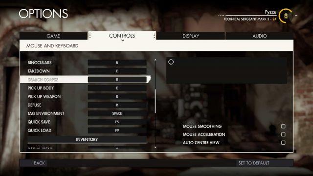 Sniper-Elite-4-controls-640x360 Sniper Elite 4 PC Technical Review