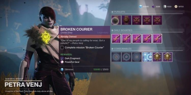 Last Wish Raid Destiny 2 Forsaken Petra Broken Courier