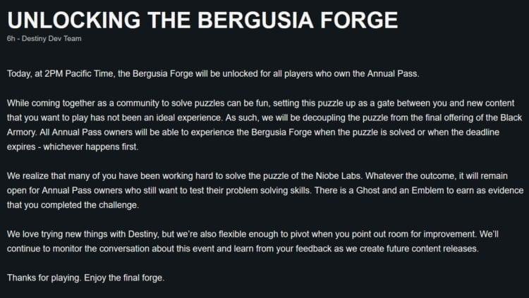 Destiny 2 Black Armory Niobe Labs Bergusia Forge Bungie