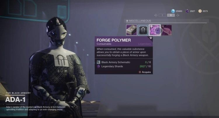 Destiny 2 Black Armory Niobe Labs Bergusia Forge Izanagi's Burden Polymer