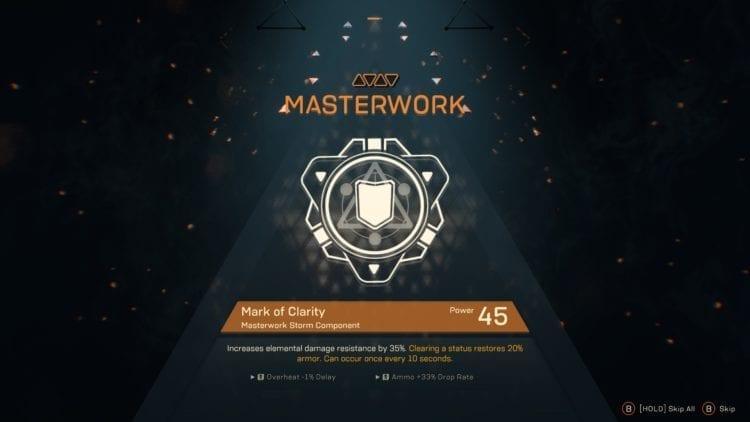 Anthem Leveling, Masterworks, Rolls, Components, Combo Guide Masterwork 2