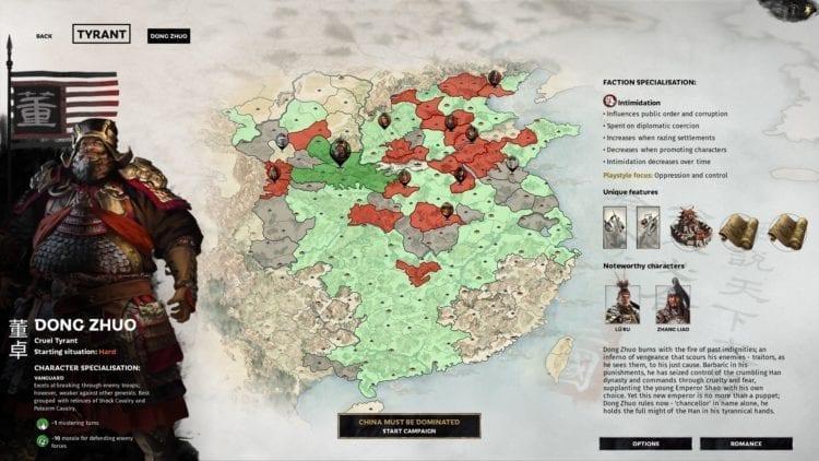 Total War Three Kingdoms Dong Zhuo Lu Bu Guide Character Selection