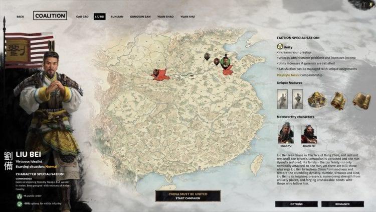 Total War Three Kingdoms Liu Bei Guide Leader Selection