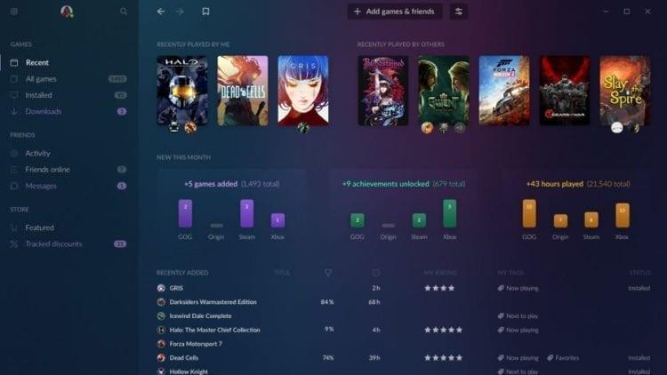 GOG Galaxy 2.0 Interface