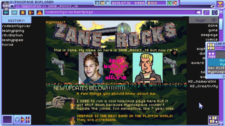 Hypnospace Outlaw Zane Rocks 1