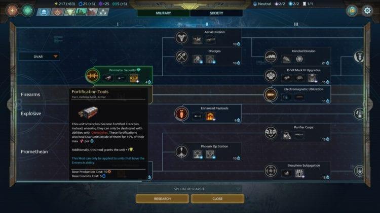 Age Of Wonders Planetfall Dvar Faction Guide Military Promethean Secret Tech