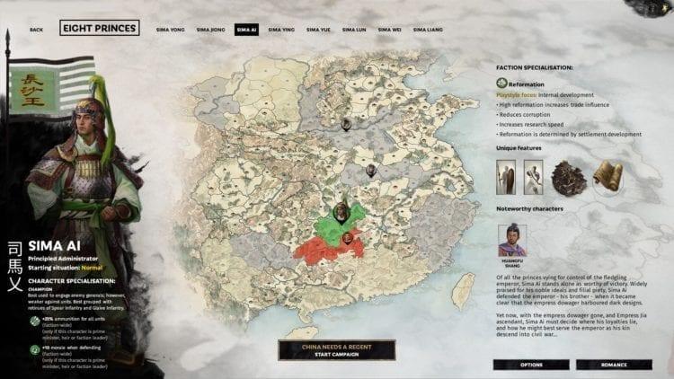 Total War Three Kingdoms Eight Princes Sima Ai Guide Selection