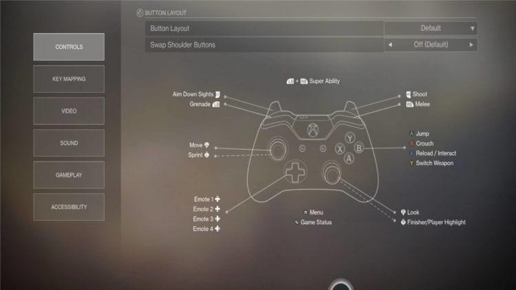 Settings Controls Gamepad