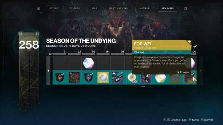 Season Of The Undying Season Of Dawn Destiny 2 Shadowkeep Undying Title Season Rewards