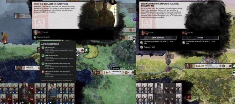 Liu Chong Guide Total War Three Kingdoms Mandate Of Heaven Dilemma Event Yuan Shu