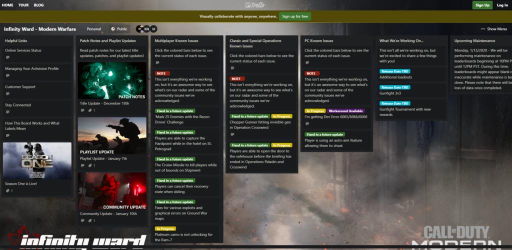 Modern Warfare Community Trello Board