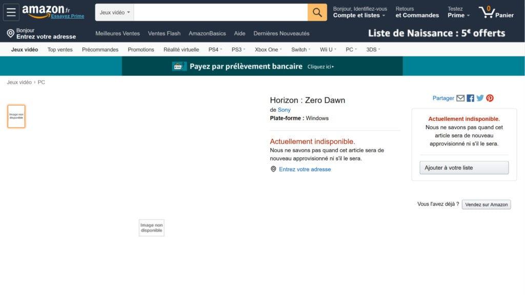 Horizon Zero Dawn Amazon France Pc Listing
