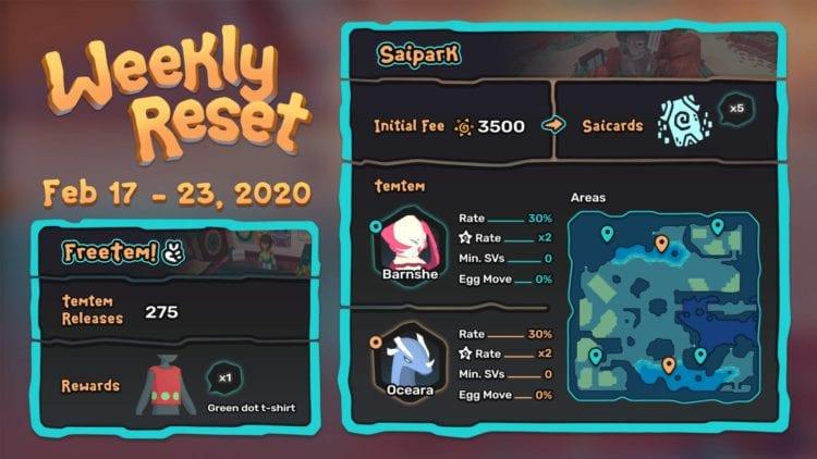 Temtem Saipark Weekly Reset Details