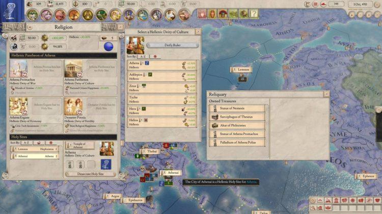 Imperator Rome Magna Graecia Dlc Archimedes Update Review Religion Athens Athena Holy Sites