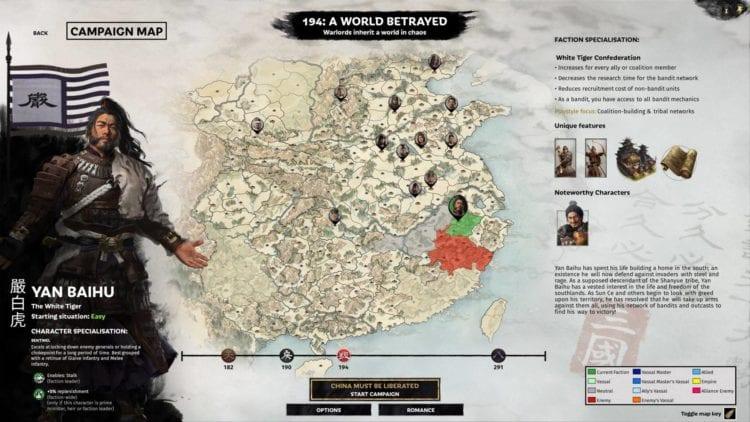 Total War Three Kingdoms A World Betrayed Yan Baihu Faction Guide Bandit Factions Zheng Jiang Zhang Yan White Tiger Bandit Network Char Select