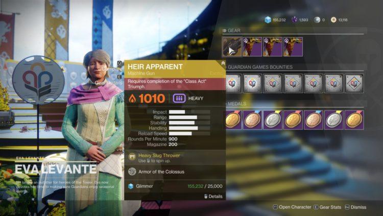 Destiny 2 Guardian Games Event Heir Apparent Exotic Machine Gun Class Act Triumph Eva Vendor