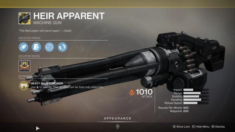 Destiny 2 Guardian Games Event Heir Apparent Exotic Machine Gun Class Act Triumph Weapon Perks