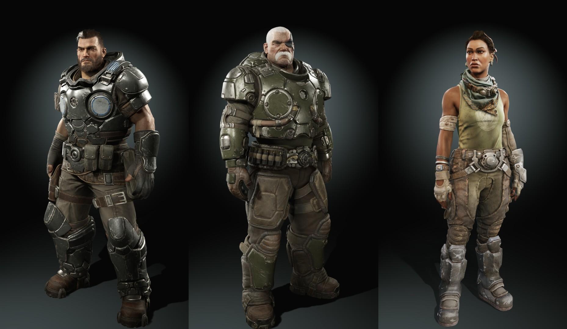 Gears Tactics Dev Blog Characters Gabe Diaz, Sid Redburn, Mikayla Dorn