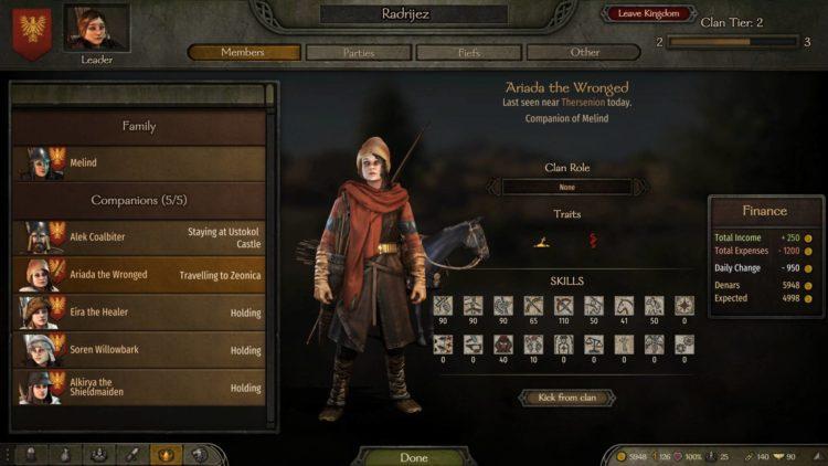 Mount & Blade Ii Bannerlord Mount And Blade Ii Bannerlord Clan Ranks Caravans Workshops Clan Menu
