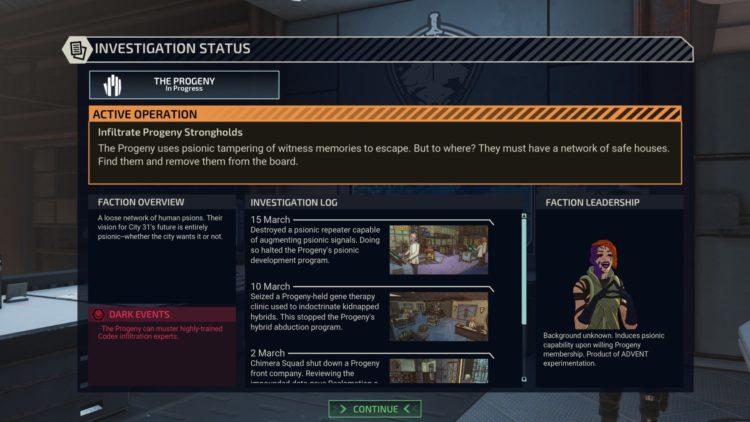 Investigation status panel
