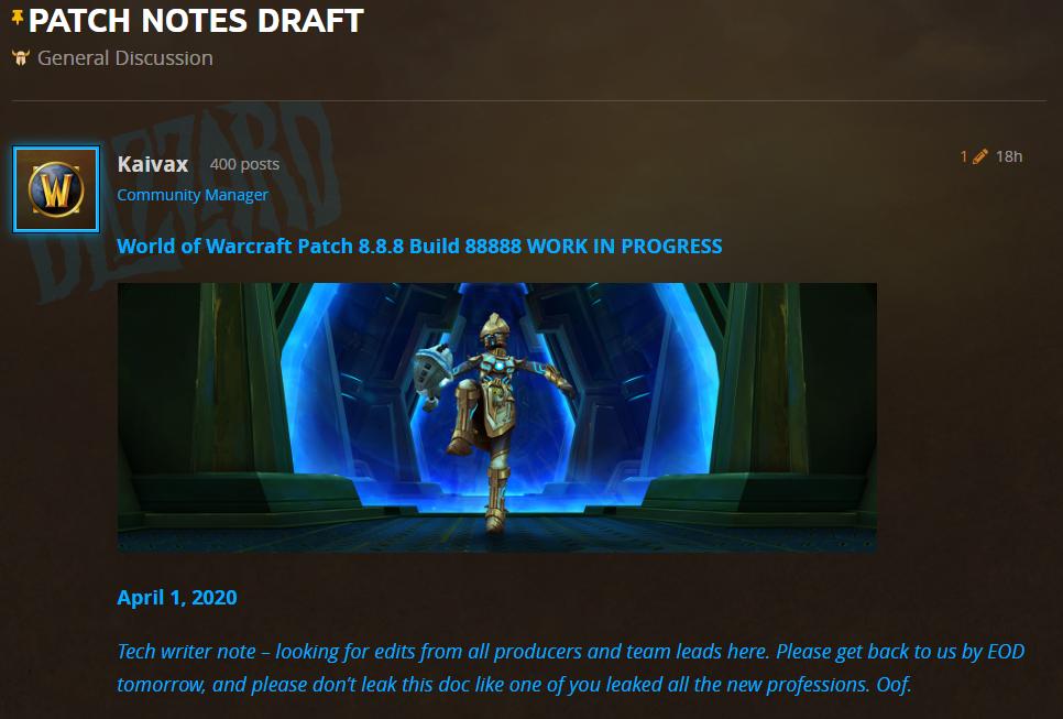 April Fools Day jokes Blizzard World of Warcraft April Fools' Day jokes