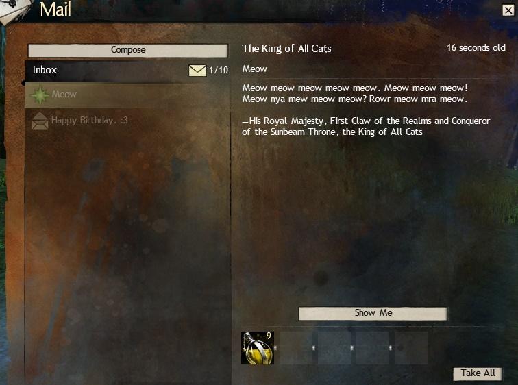 Guild Wars 2 April Fools mail