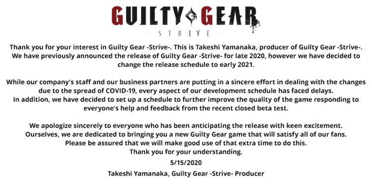 Guilty Gear Strive delay announcement