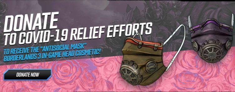 Borderlands 3 Direct Relief Digital Face Mask Covid-19