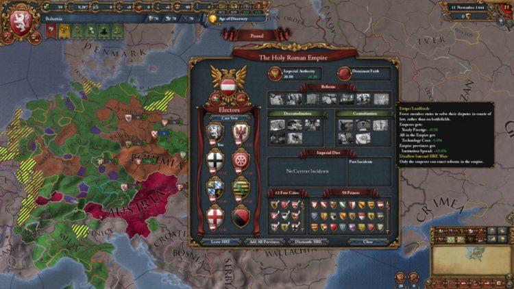 Europa Universalis Iv Emperor Review Europa Universalis 4 Emperor Review Bohemia Austria Holy Roman Empire 1