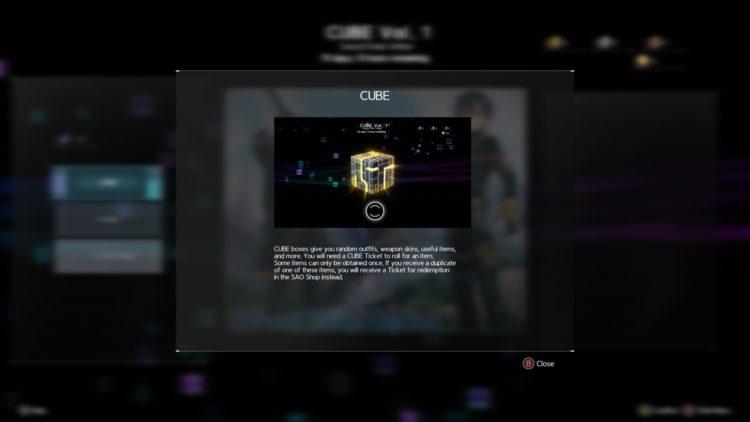 Sword Art Online Alicization Lycoris Cube Ticket Cube Shop Daily Quest Sao Shop Start