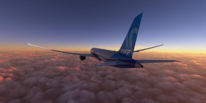 Microsoft Flight Simulator Boeing 787 Sunset Over The Clouds