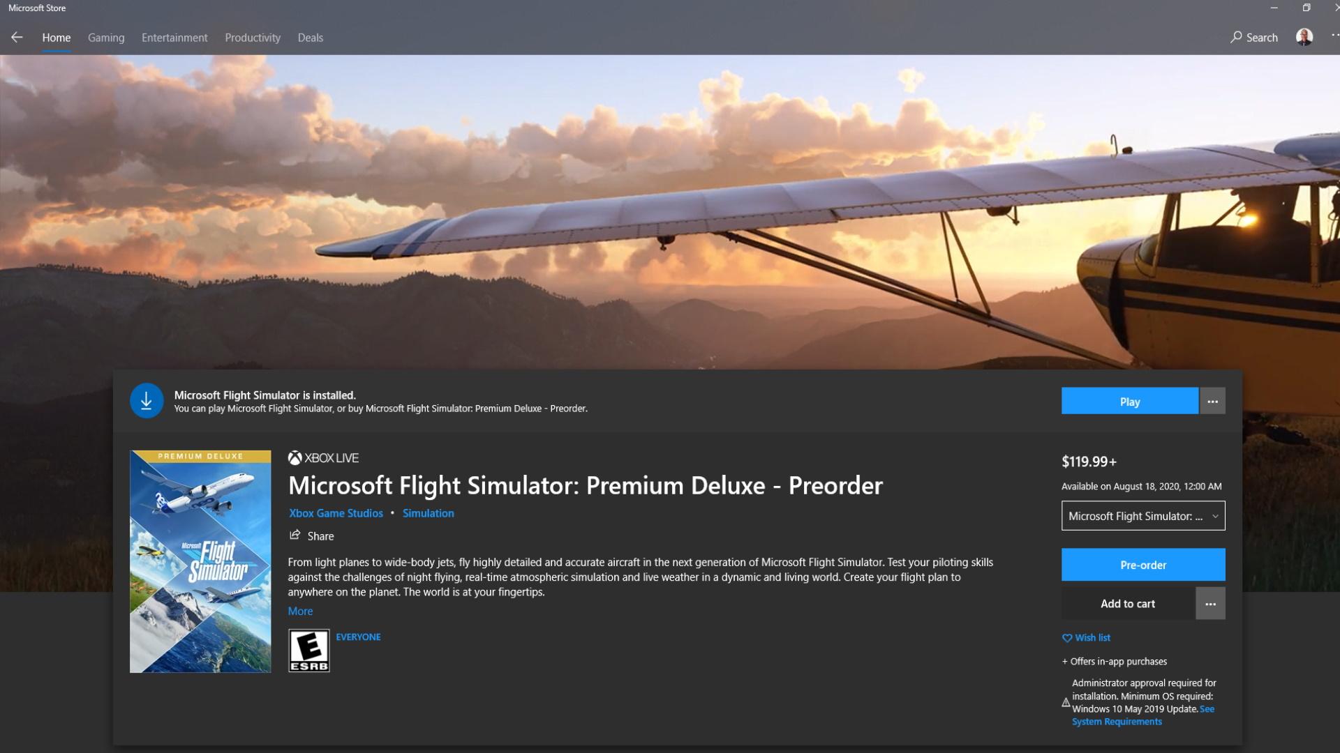 Microsoft Flight Simulator Windoes Store Page