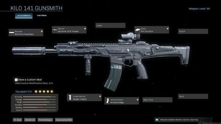 Call of Duty Warzone Kilo 141 loadout