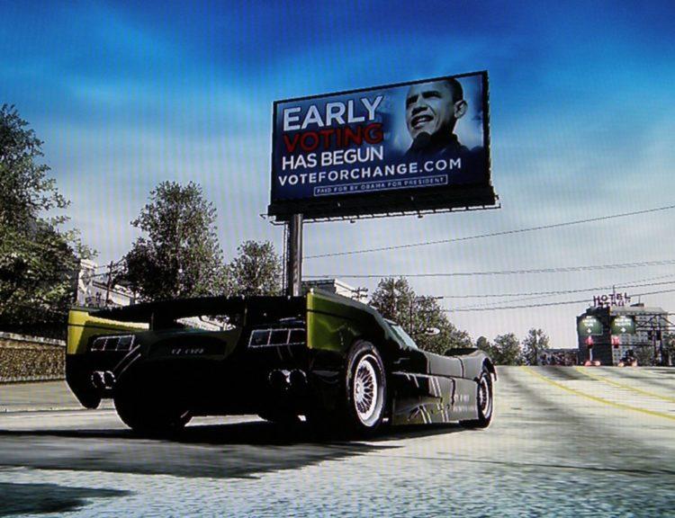 Political Advertising for Barack Obama in Burnout Paradise