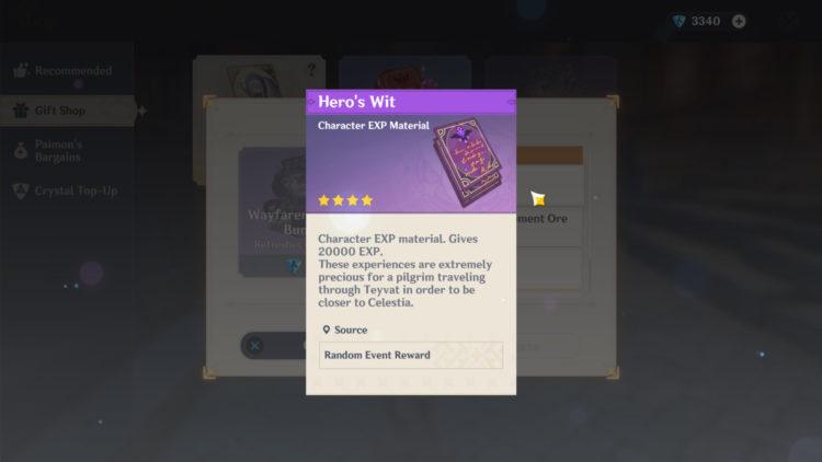 Genshin Impact Leveling Guide Exp Hero's Wit 1b