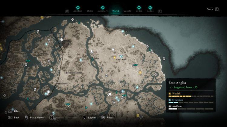 Assassin's Creed Valhalla Полная карта мира Руководство по сундукам с сокровищами 3a Восточная Англия