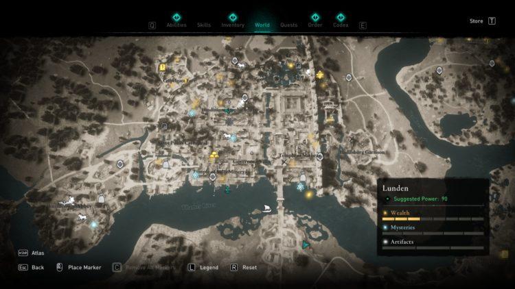 Assassin's Creed Valhalla Полная карта мира Руководство по сундукам с сокровищами 4b Lunden