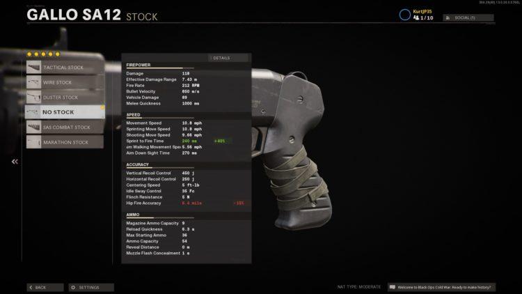 Black Ops Cold War Gallo Sa12 Stats