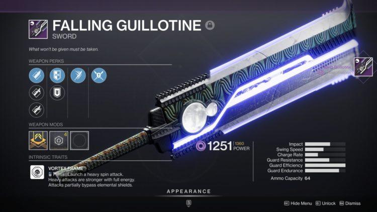 Destiny 2 Beyond Light Falling Guillotine Ikelos Hotfix Sunsetting 1