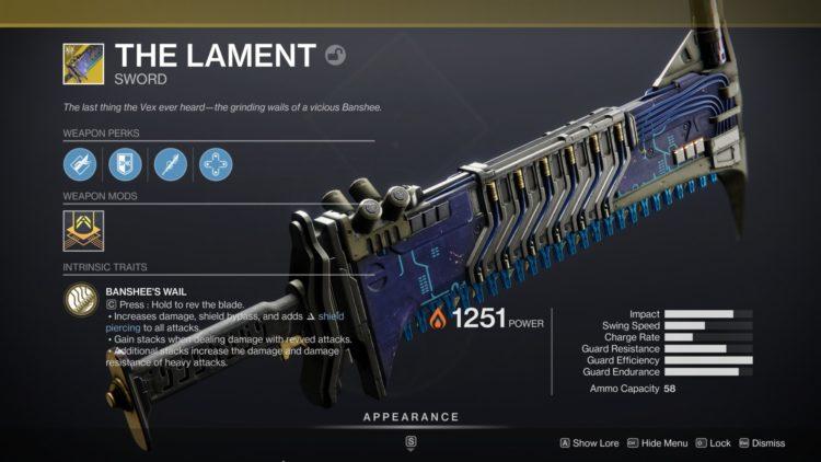 Destiny 2 Beyond Light The Lament Exotic Sword Quest Guide Perks