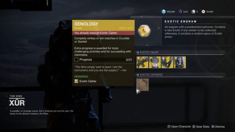 Destiny 2 Beyond Light Where Is Xur Nov 13 2020 2