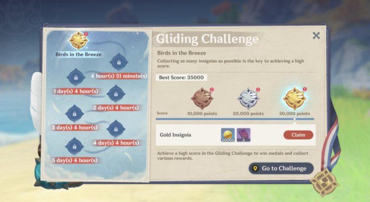 Genshin Impact Gliding Challenge Guide Rewards 3