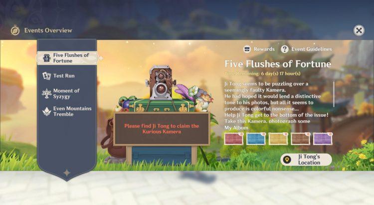 Genshin Impact Kurious Kamera Five Flushes Of Fortune Event Guide 1