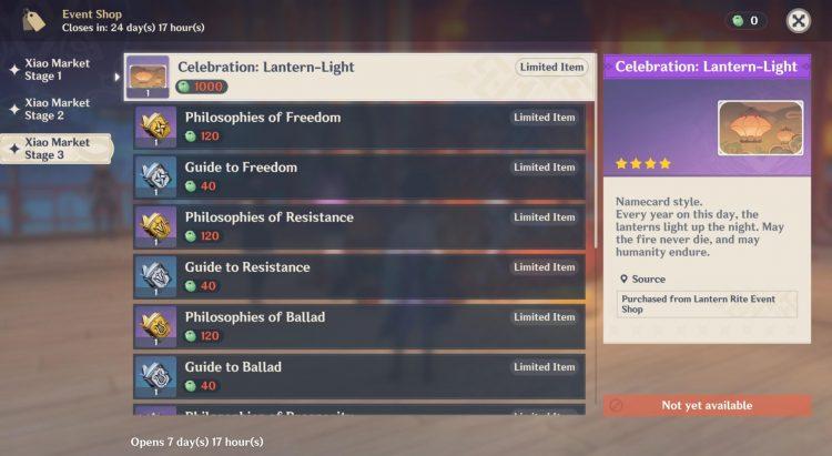 Genshin Impact Lantern Rite Xiao Market Rewards Guide 3